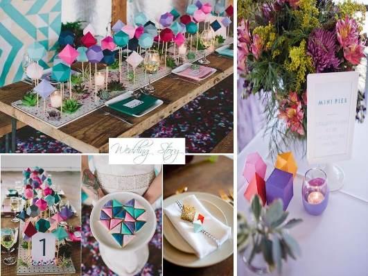 Геометричні фігурки як яскравий декор столу